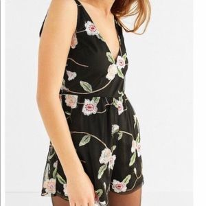 Urban Outfitters black lace romper